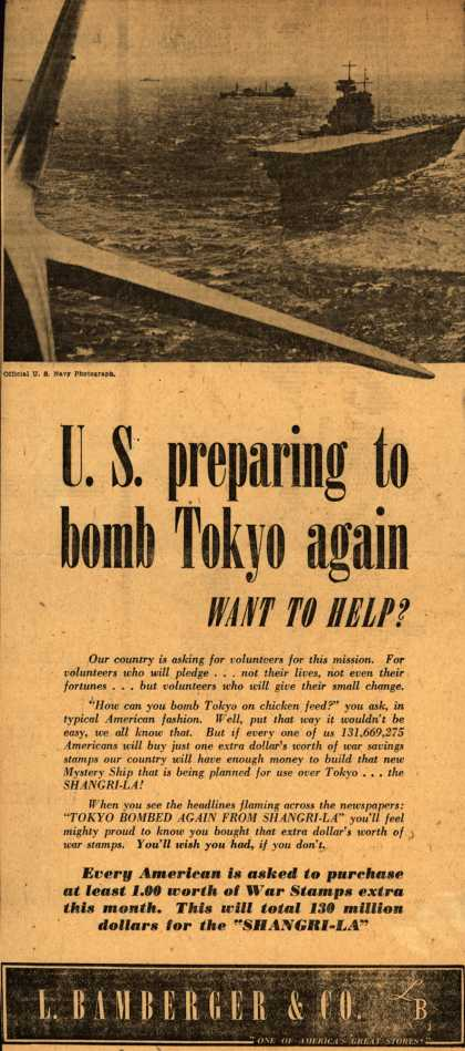 L. Bamberger & Co.'s War Bonds – U. S. preparing to bomb Tokyo again (1943)