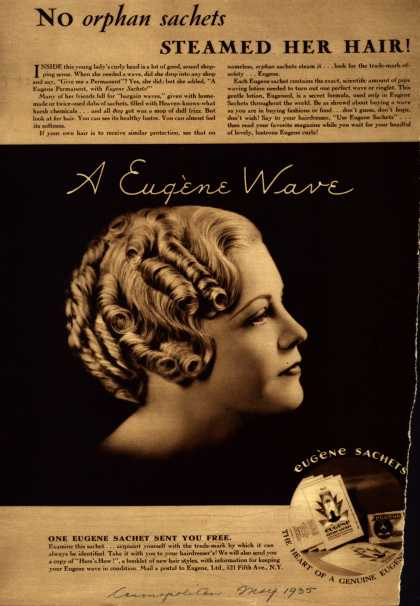 Eugene, Ltd.'s Eugene permanent wave sachet – No orphan sachets Steamed Her Hair (1935)