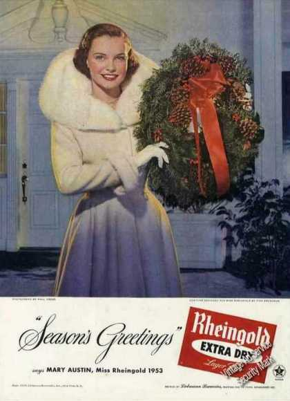 Miss Rheingold Beer Ad Mary Austin Christmas Photo (1953)