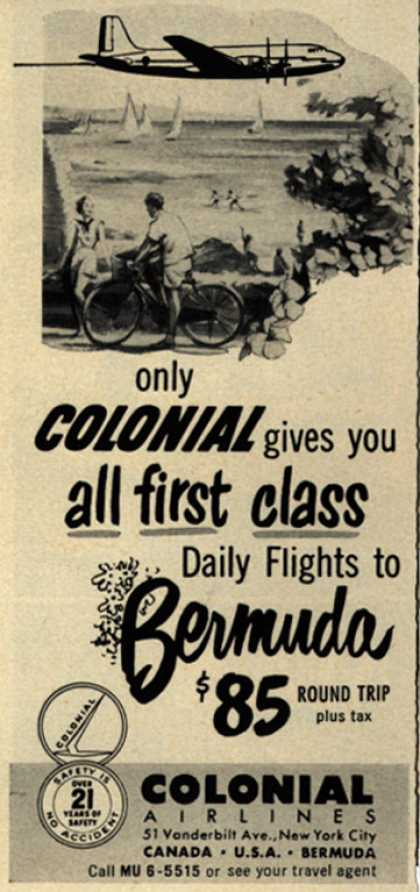 Colonial Airline's Bermuda – Only Colonial gives you all first class (1951)