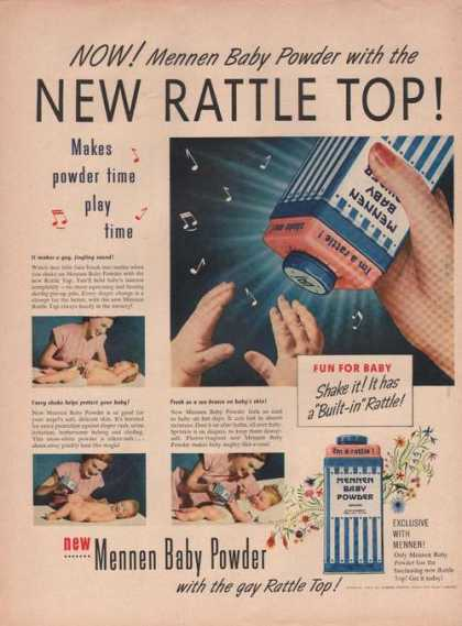 Mennen Baby Powder New Rattle Top (1949)