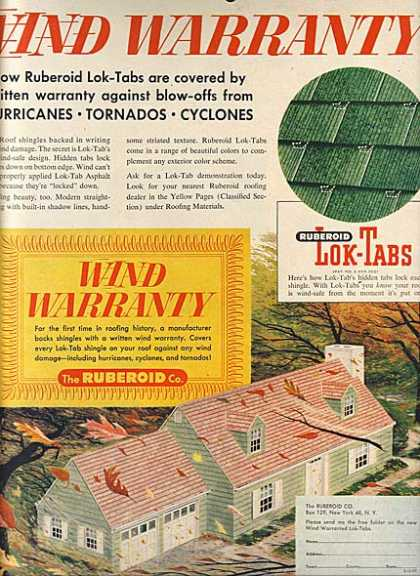 "Ruberoid's ""New! Roof Shingles with a Wind Warranty"" (1957)"