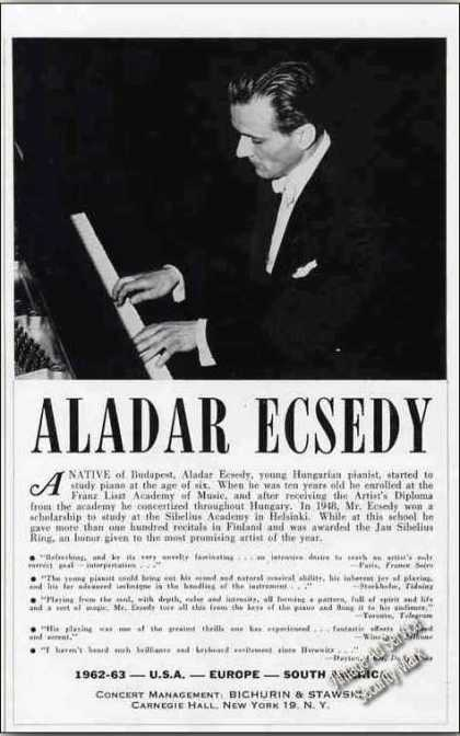 Aladar Ecsedy Photo Pianist Booking (1962)