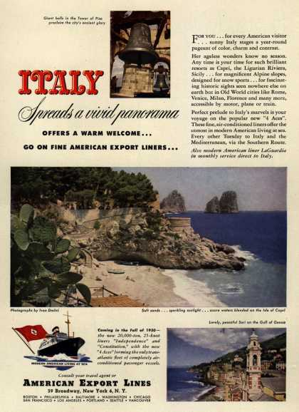 American Export Line's Italy – ITALY Spreads a vivid panorama (1949)