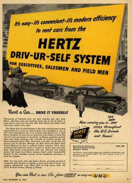 Hertz's Driv-Ur-Self System – It's easy-it's convenient- it's modern efficiency to rent cars from the Hertz Driv-UR-Self System For Executives, Salesmen And Field Men (1948)
