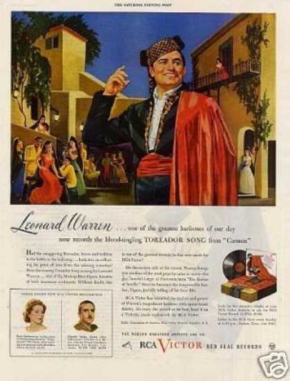 Rca Victor Records Ad Leonard Warren (1943)