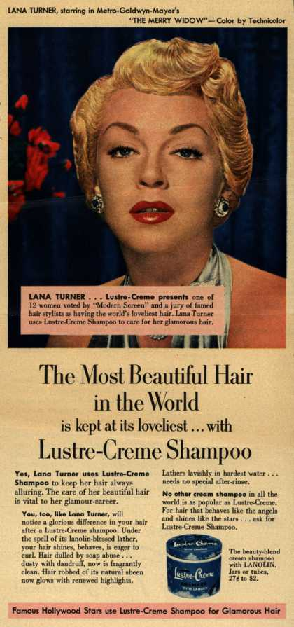 Kay Daumit's Lustre-Creme Shampoo – The Most Beautiful Hair in the World is kept at its loveliest... with Lustre Creme Shampoo (1952)
