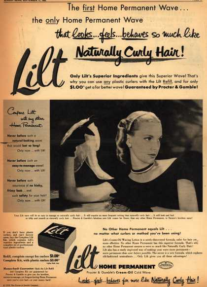 Procter & Gamble Co.'s Lilt Permanent Wave – The First Home Permanent Wave... the only Home Permanent Wave that looks... feels... behaves so much like Naturally Curly Hair (1950)