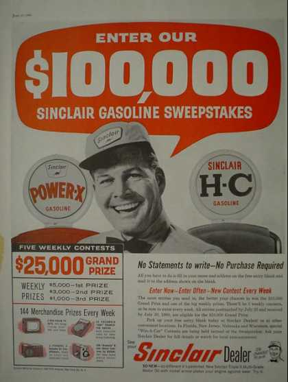 Sinclair Power-X and H-C Gasoline Gas Sweepstakes (1960)