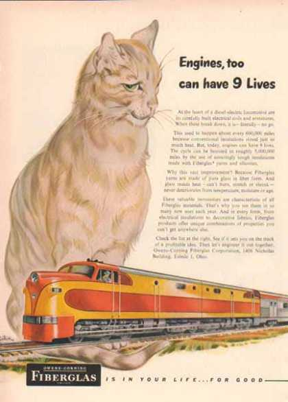 Owens Corning Fiberglass – Like cats with Nine Lives (1949)