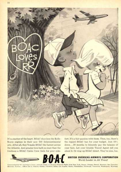 Boac British Airways 707 Ad Boy and Girl (1960)