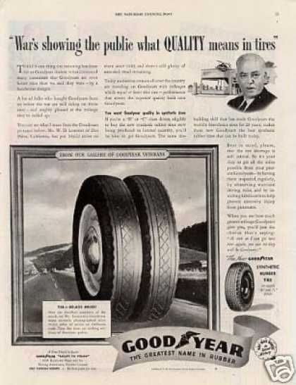 "Goodyear Tires Ad ""War's Showing the Public... (1943)"