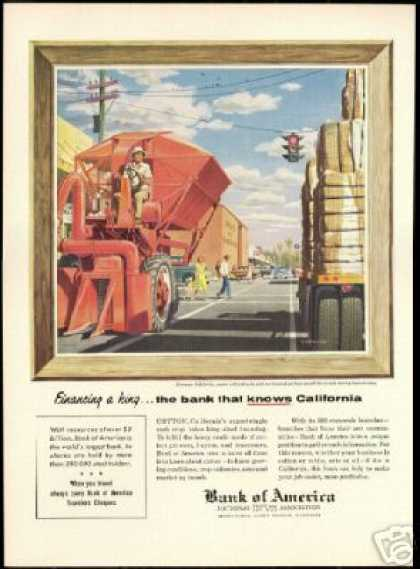 Kerman California Cotton Trucks Bank of America (1955)