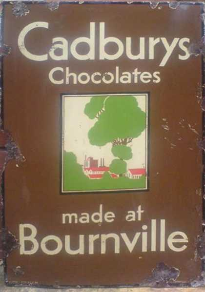 Cadbury's Bournville Chocolates Sign