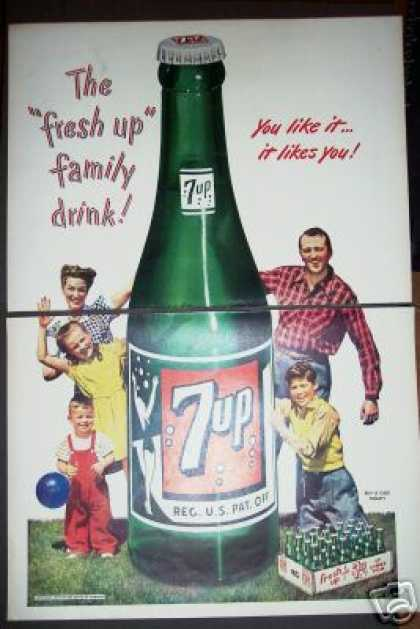 Original 2pg 7up Soda Ad Giant Bottle Family Art (1947)