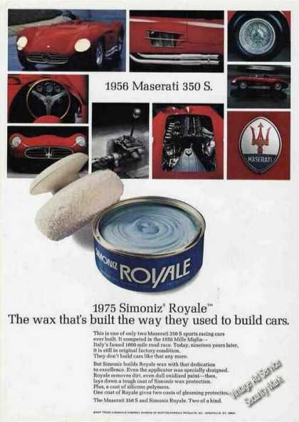 Simoniz Royale Ad W/photos of 1956 Maserati 350 S (1975)