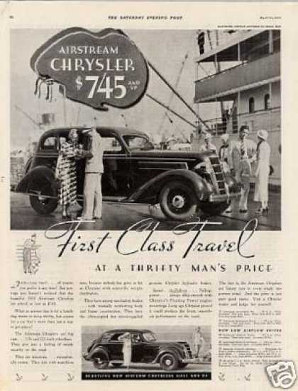 "Chrysler Airstream Car Ad ""First Class... (1935)"