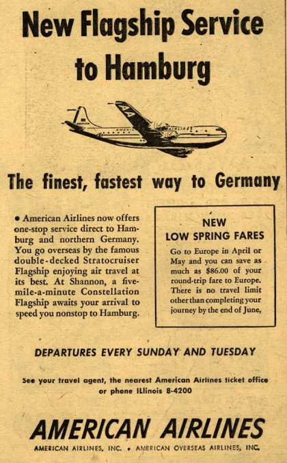 American Airline's Hamburg – New Flagship Service to Hamburg (1950)