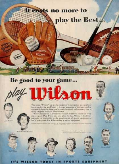Wilson Sports Football Baseball Bob Feller Ad T (1955)