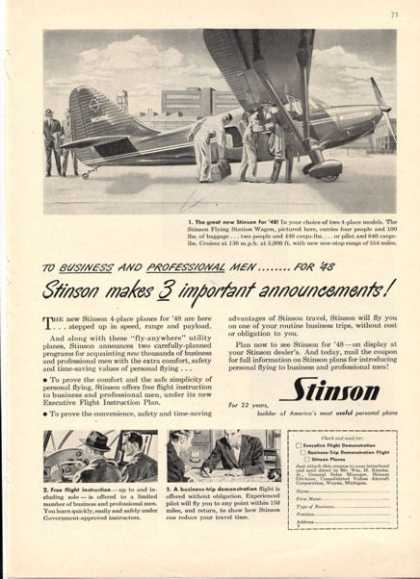 Stinson Aircraft 1948 Model Great Details (1947)