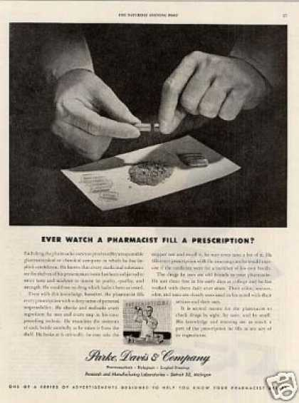 "Parke, Davis & Company Ad ""Ever Watch a Pharmacist (1945)"