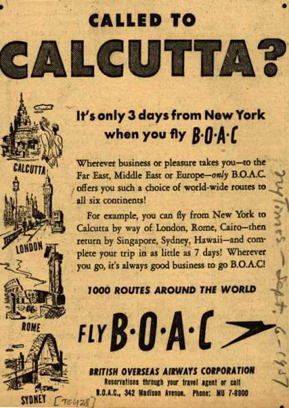 British Overseas Airways Corporation's Long Distance Trips – Called to Calcutta? (1951)