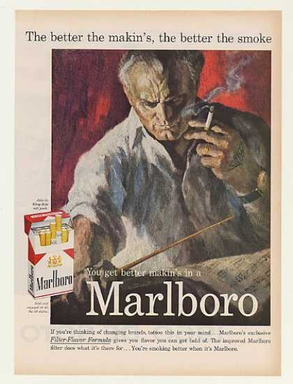 Marlboro Orchestra Conductor Tattoo Man Smoking (1959)