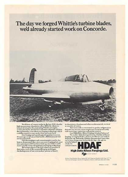 HDAF Forgings 1930's Whittle Aircraft Photo (1976)
