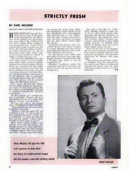Henry Morgan – Magazine Article – Radio Comic Turned Actor (1948)