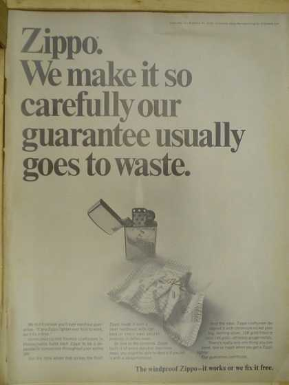 Zippo Lighters. Our guarantee usually goes to waste (1968)