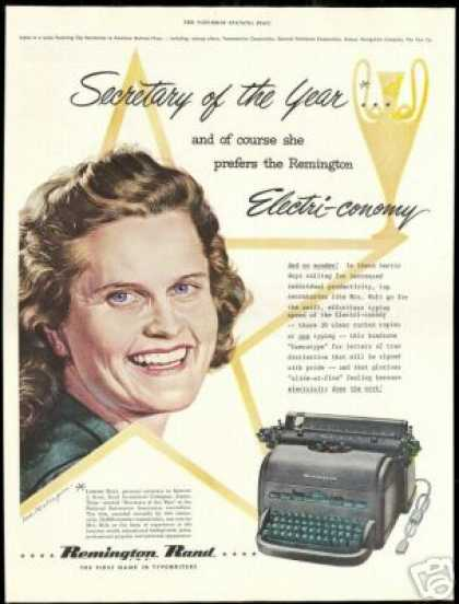 Remington Rand Typewriter Secretary Lorene Bolt (1951)