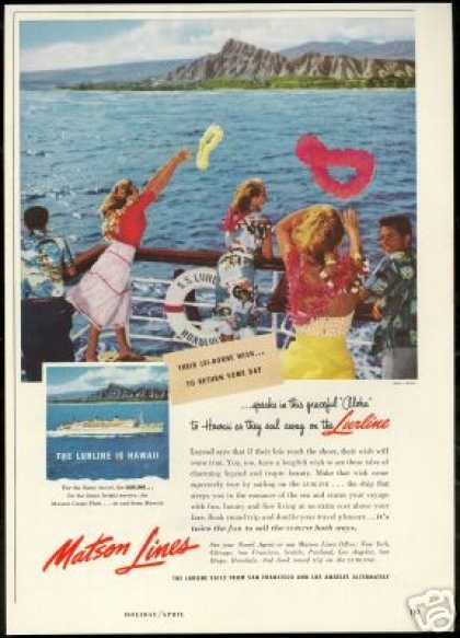Matson Lines Cruise Hawaii Diamond Head (1955)