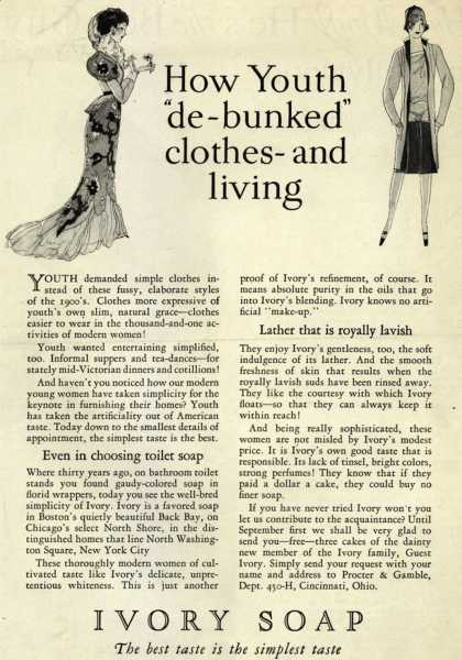 "Procter & Gamble Co.'s Ivory Soap – How Youth ""de-bunked"" clothes and living (1927)"