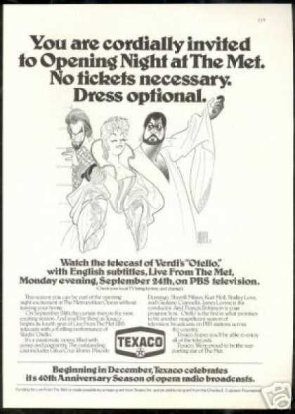 Al Hirschfeld Art Verdis Otello Met Texaco (1979)
