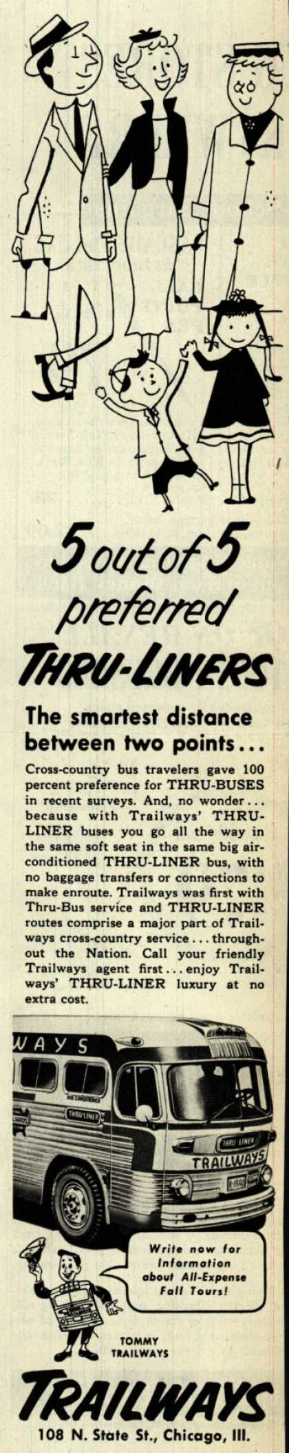 National Trailways Bus System's Thru-Liners – 5 out of 5 preferred Thru-Liners (1953)