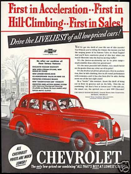 Chevrolet Red 4 Door Car Photo Print Vintage (1939)