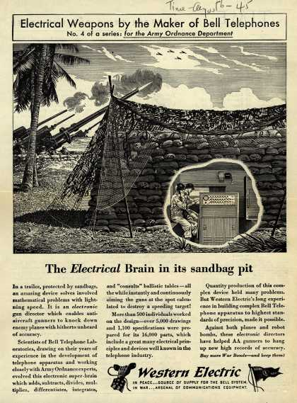 Western Electric – The Electrical Brain in its sandbag pit (1945)