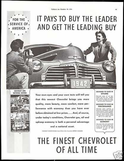 Chevrolet Car The Leader Photo Vintage (1942)