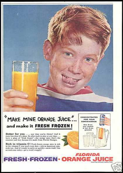 Redhead Boy Florida Frozen Orange Juice (1956)