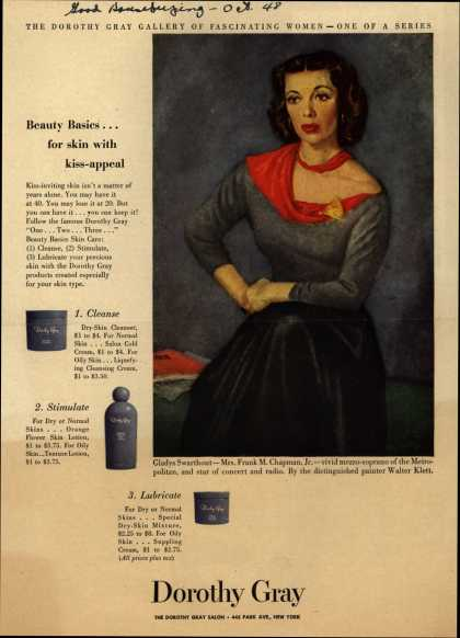 Dorothy Gray – Beauty Basics...for skin with kiss-appeal (1948)