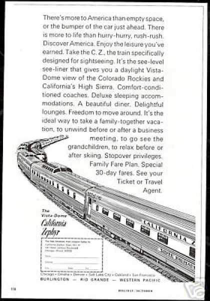 Vista Dome California Zephyr Train Railroad (1966)