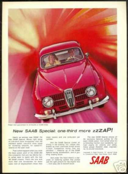 Red Saab Special Vintage Car Photo More Zap (1966)