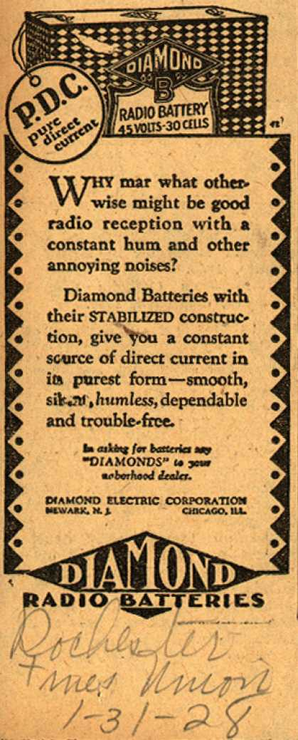 Diamond Electric Corporation's Radio Batteries – P.D. C. pure direct current (1928)