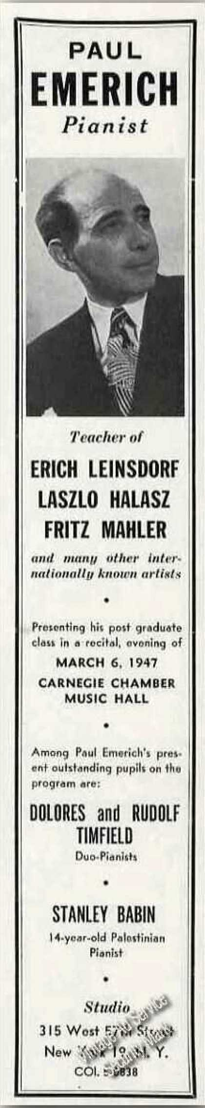 Paul Emerich Photo Teacher Pianist Trade (1947)