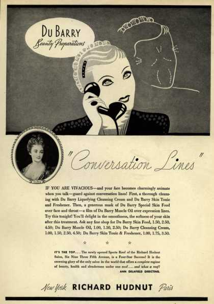 "Richard Hudnut's Du Barry Beauty Preparations – ""Conversation Lines"" (1935)"