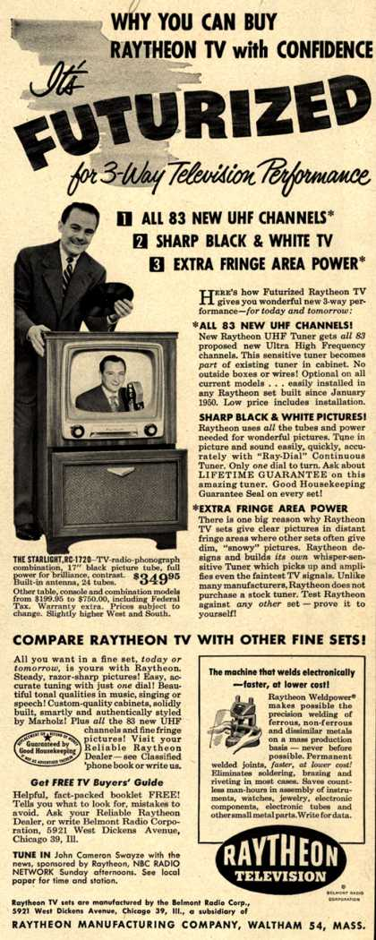 Raytheon Manufacturing Company's Television – Why You Can Buy Raytheon TV with Confidence It's Futurized for 3-Way Television Performance (1951)