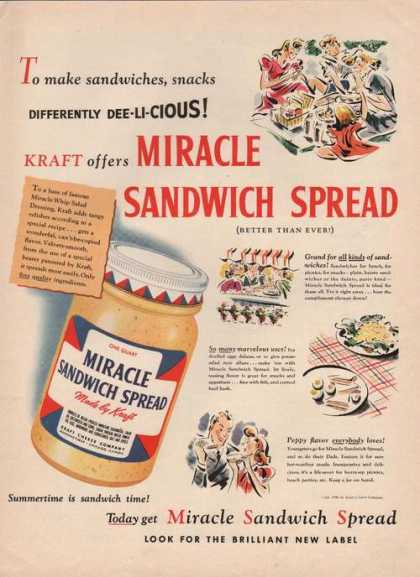 Miracle Sandwich Spread By Kraft (1941)