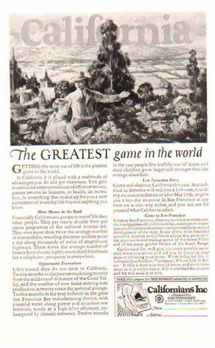 California Tourist Travel – Greatest Game in the World (1924)