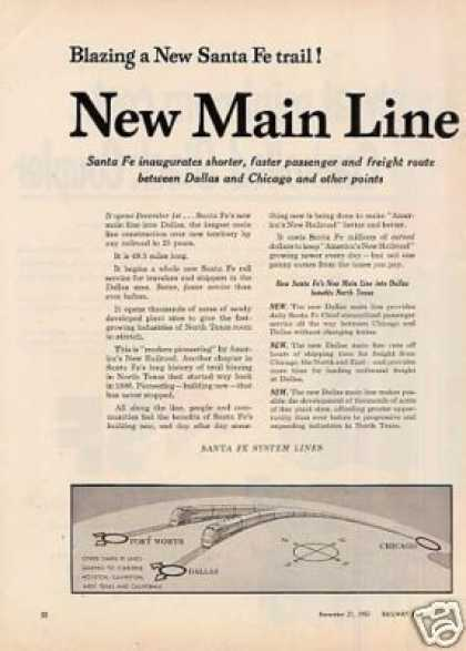 "Santa Fe Railroad Ad ""...new Santa Fe Trail"" (1955)"