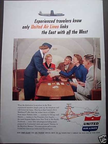 United Airline Stewardess Photo Card Playing (1953)